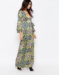Платье макси с запахом и принтом Rare - Мульти