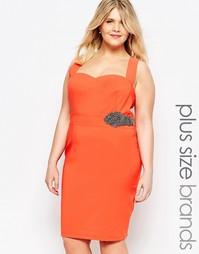 Облегающее платье с декольте Little Mistress - Оранжевый