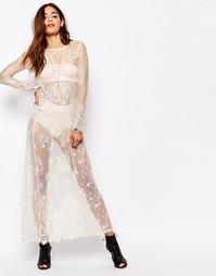 Платье макси из прозрачного кружева с длинными рукавами Religion