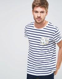 Полосатая футболка с тропическим принтом на кармане Esprit - Белый