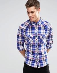 Клетчатая рубашка с длинными рукавами Esprit - Чернила