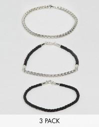 Комплект плетеных и металлических браслетов ASOS - Мульти