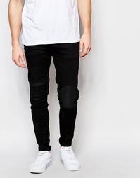 Байкерские джинсы скинни с заплатами Other UK - Черный