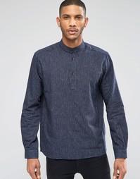 Рубашка через голову с воротником на пуговице ADPT - Темно-синий
