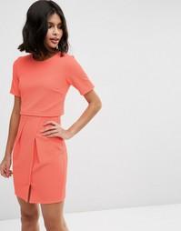Фактурное двухслойное платье мини ASOS - Коралловый