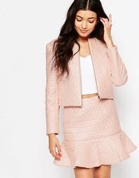 Розоватая стеганая в сердечко куртка Lashes Of London - Розовый