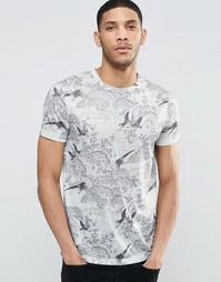 Серая футболка из ткани под лен с принтом цветов и птиц ASOS - Экрю