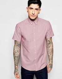 Зауженная розовая оксфордская рубашка с короткими рукавами Lindbergh