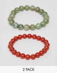 Набор браслетов с бусинами зеленого и оранжевого цвета ASOS - Мульти