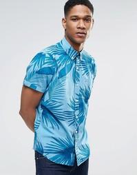 Рубашка слим с короткими рукавами и тропическим принтом Hollister