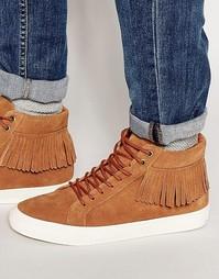 Замшевые высокие кроссовки с бахромой Walk London - Рыжий