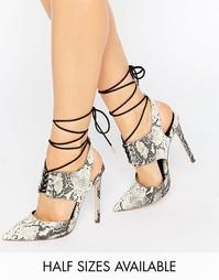 Туфли на каблуке с заостренным носком и шнуровкой ASOS PATROL - Snake