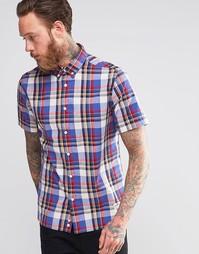 Синяя классическая рубашка в клетку с короткими рукавами Penfield