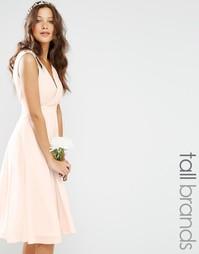 Платье миди для выпускного с отделкой на плечах TFNC Tall - Телесный