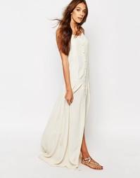 Платье макси с принтом пейсли и пуговицами Flynn Skye - Crème brulee