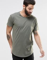 Удлиненная футболка с широкой горловиной Only & Sons - Масляно-зеленый