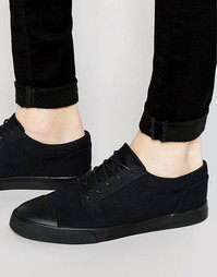 Черные парусиновые кеды на шнуровке со вставкой на носке ASOS - Черный