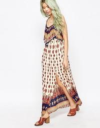 Платье макси в богемном стиле с принтом Hazel - Коралловый