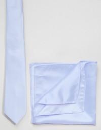 Галстук и платок для пиджака нежно-голубого цвета ASOS Wedding - Синий