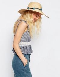 Соломенная шляпа с бирюзовым камнем на ленте ASOS - Естественный