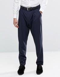 Строгие брюки с заниженным шаговым швом ASOS - Темно-синий