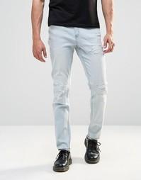 Выбеленные узкие джинсы с потертостями Cheap Monday - Облако
