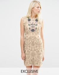 Платье-трапеция с отделкой кокетки в этническом стиле Needle & Thread