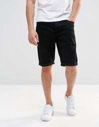 Черные прямые джинсовые шорты Lee - Чистый черный