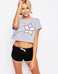 Прямая укороченная футболка с принтом Made Of Stardust Kiss & Tell