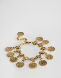 Браслет на ногу с монетками Reclaimed Vintage - Золотой