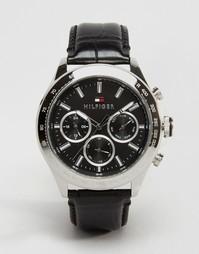 Черные часы с кожаным ремешком Tommy Hilfiger Hudson 1791224 - Черный