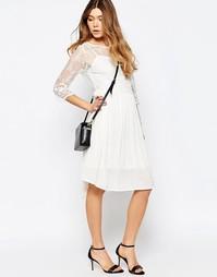 Платье с кружевным верхним слоем и рукавами 3/4 b.Young - Бежевый