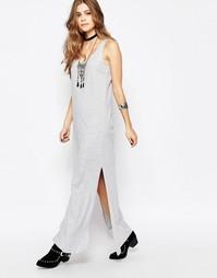 Трикотажное платье макси без рукавов b.Young - Светло-серый