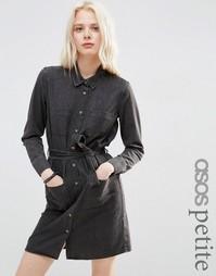 Черное выбеленное джинсовое платье‑рубашка ASOS PETITE