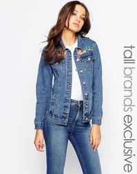 Джинсовая куртка с вышивкой цветов и птиц Glamorous Tall