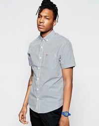 Рубашка в клеточку с короткими рукавами Original Penguin Fall - Синий