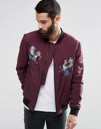 Куртка-пилот с вышивкой Religion Souvenir - Темно-бордовый
