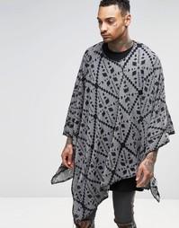 Вязаное пончо с ацтекским узором Religion Festival - Серый меланж