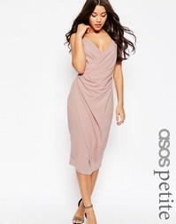 Креповое платье‑сорочка миди с драпированным дизайном ASOS PETITE