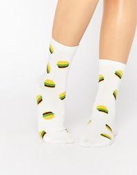Спортивные носки с гамбургерами 7X - White burger