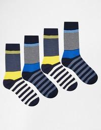 Комплект из 4 пар полосатых носков Jack & Jones - Мульти