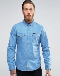 Джинсовая рубашка слим в стиле вестерн Lee - Snorkel blue