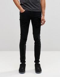 Зауженные рваные джинсы Dr Denim Snap - Черные с прорехами