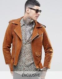 Замшевая байкерская куртка с принтом брызг красок Reclaimed Vintage