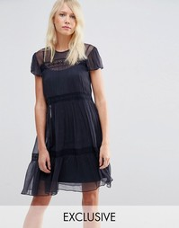 Шифоновое платье с кружевом Needle & Thread - Indigo - индиго