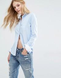 Оксфордская рубашка в полоску с подвернутыми рукавами Abercrombie & Fi