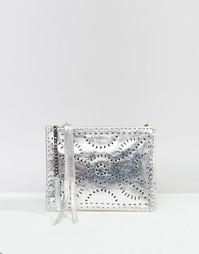 Кожаная сумочка с перфорацией Cleobella Mexicana - Серебряный