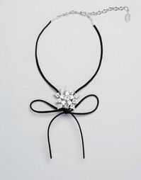 Замшевое ожерелье‑чокер с бантиком и звездой из кристаллов Swarovski о Krystal