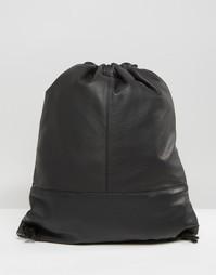 Кожаный рюкзак со шнуровкой ASOS - Черный