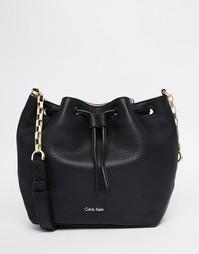 Кожаная сумка с завязкой Calvin Klein - Черный